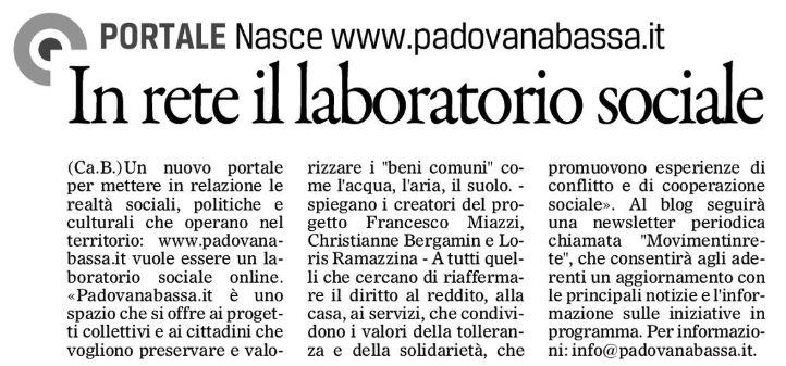 Padovanabassa.it sulla stampa locale
