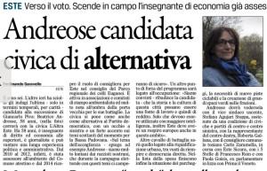 Gazzettino_2016-04-02_Este andreose candidata