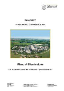 thumbnail of Piano di dismissione Italcementi stabilimento di Monselice 01 – 2017